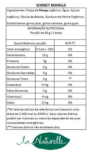 Tabela Nutricional Sorbet Manga13