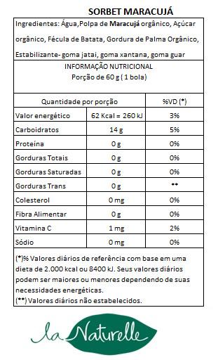 Tabela Nutricional Sorbet Maracujá66