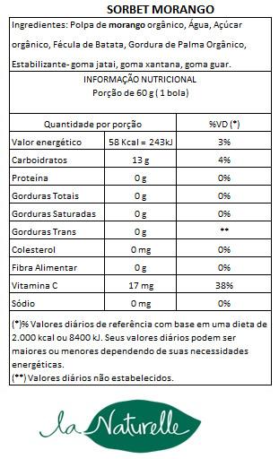 Tabela Nutricional Sorbet Morango56